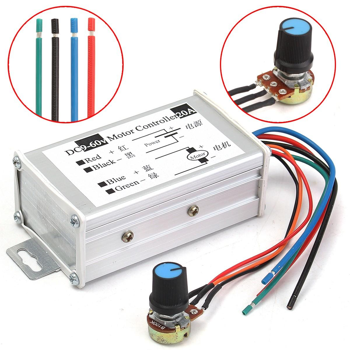 12V 24V 20A Max PWM DC Motor Stepless Adjustable Speed Controller 25kHz