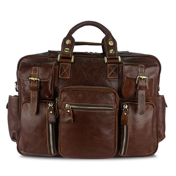 الرجال متعددة الوظائف حقيبة الأعمال جلد طبيعي سعة كبيرة حقيبة يد السفر