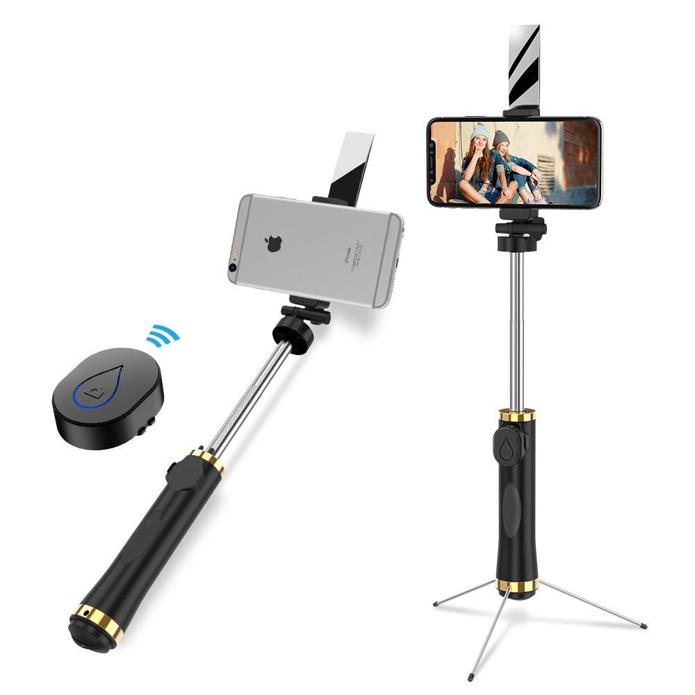 Bakeey 3 в 1 360 Вращающееся зеркало Складное Штатив Bluetooth Selfie Палка для 3,5-6 дюймов Смартфон