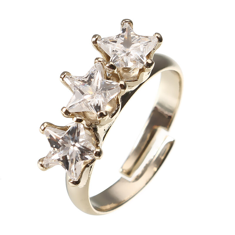 JASSY® Fashion Gold Plated Triple Five-pointed Star Shiny Zircon Adjustable Open Ring for Women