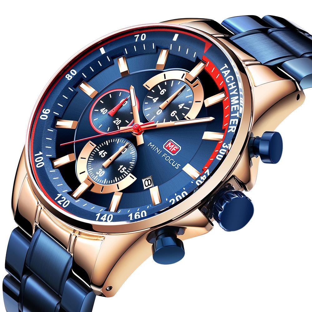 MINI FOCUS MF0218G montre homme fonctionnant avec montre à quartz cadran en acier inoxydable