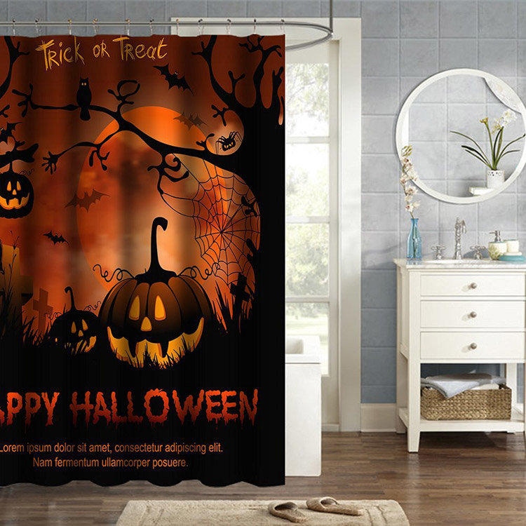 150x180cm Happy Halloween Labu Polyester Shower Curtain Kamar Mandi Decor dengan 12 Hooks