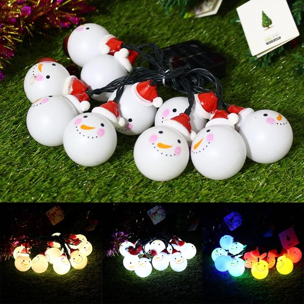 solar powered 35m 20leds snowman fairy string light outdoor christmas holiday decoration - Solar Powered Outdoor Christmas Decorations