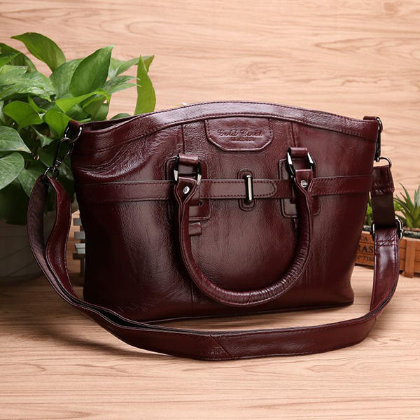 Women Genuine Leather Vintage Oil Wax Handbag Solid Leisure Crossbody Bag