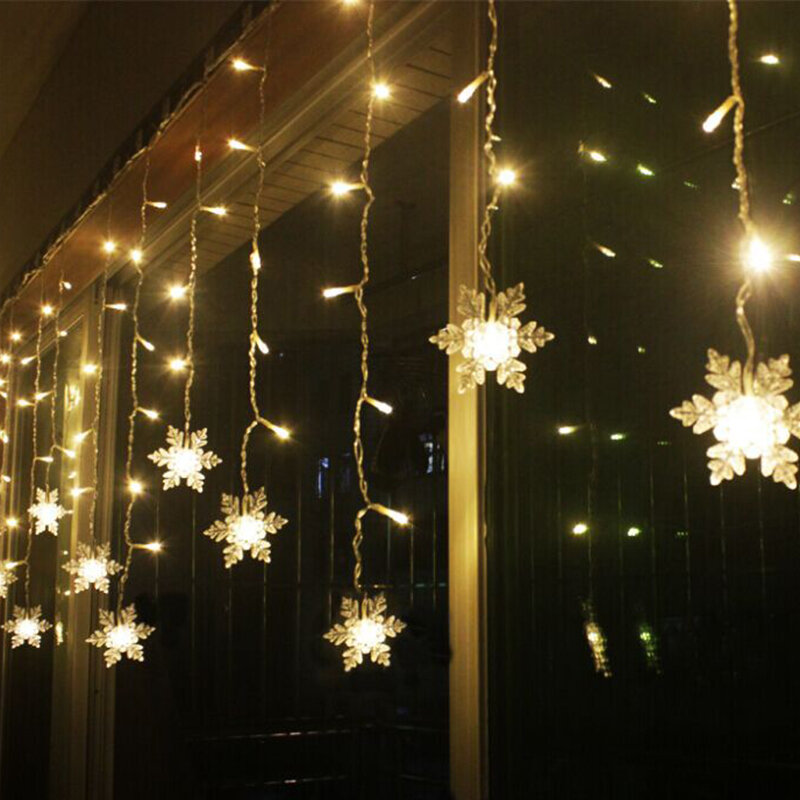 3 8m Led Curtain Snowflake String Lights Fairy 8 Modes Christmas Wedding Party