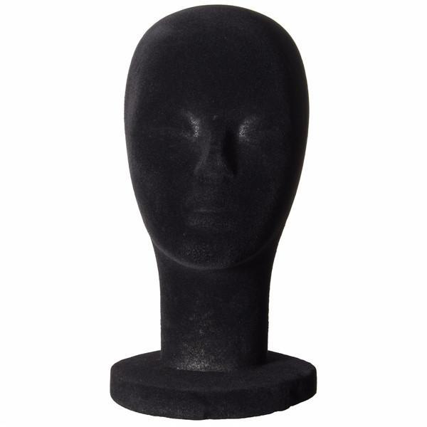 O manequim de espuma encabeça o modelo de exposição de perucas de isopor aveludado preto