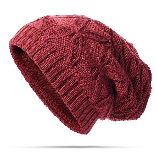 Gorros de punto de invierno cálido casquillo Casual sólido espesar Cráneo  capo Sombrero para hombres Mujer 839b7da0d3b