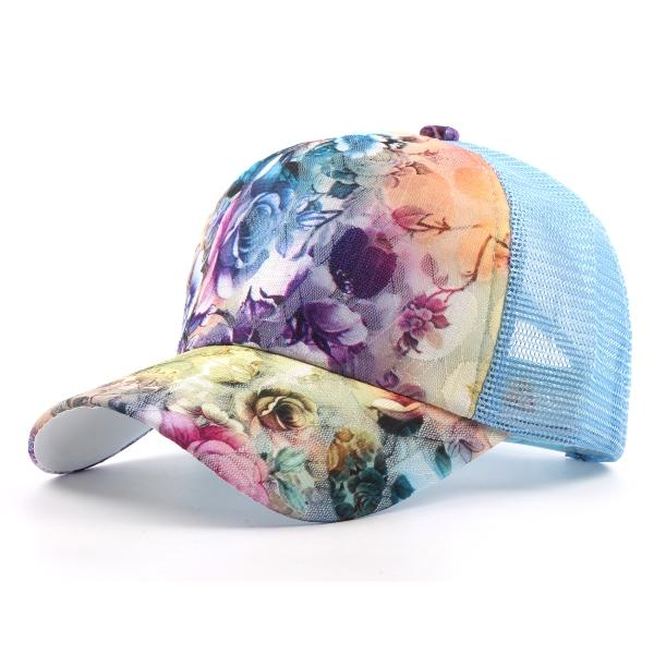 Femmes Femmes Outdoor Sports Fleur Impression Mesh Breathable Trucker Baseball Hat Adjuatable