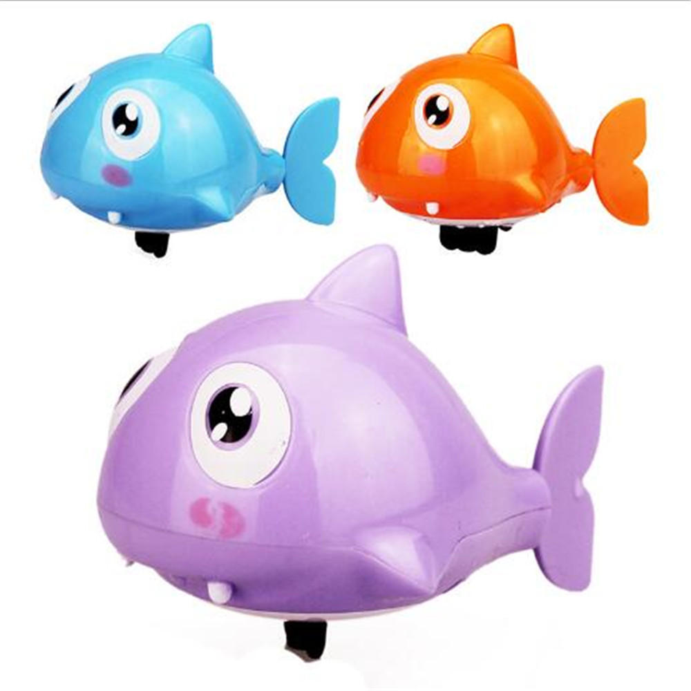 Swimming Shark Animal Fish Clockwork Wind-up Toys Plastic Pool Bath Cartoon Bath Toy