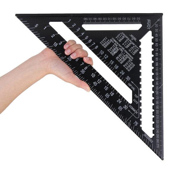 Raitool AR01 43X30X30cm Alliage d'Aluminium Métrique Règle Triangle Noire Règle Triangle