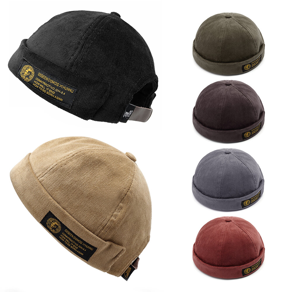 d2200141747d9 Mens Corduroy Adjustable Solid French Brimless Hat Vogue Retro Skullcap  Sailor Cap COD