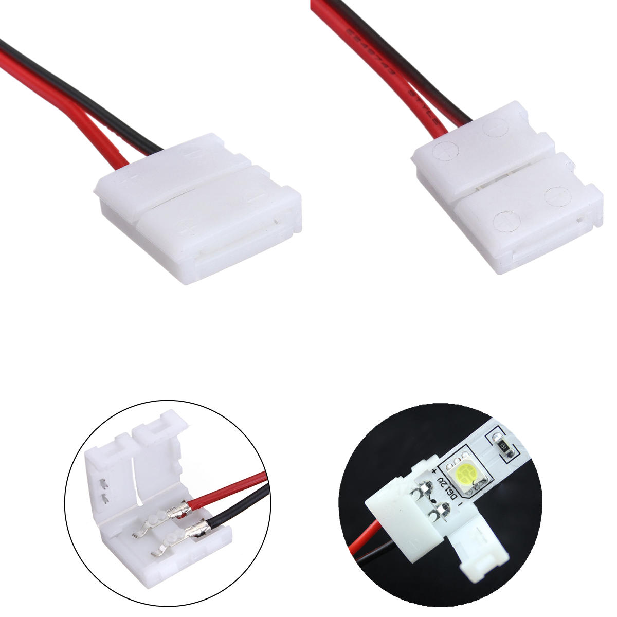 Lustreon 2 Pins Power Connector Adaptor For 3528 5050 Led Strip Wire Wiring A Wall Socket South Africa With Pcb