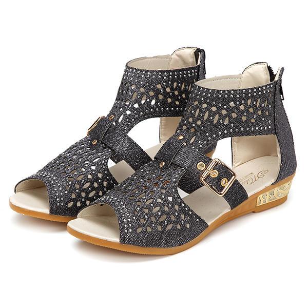 Rhinestone Hollow Out Wedges Zipper Roman Sandals