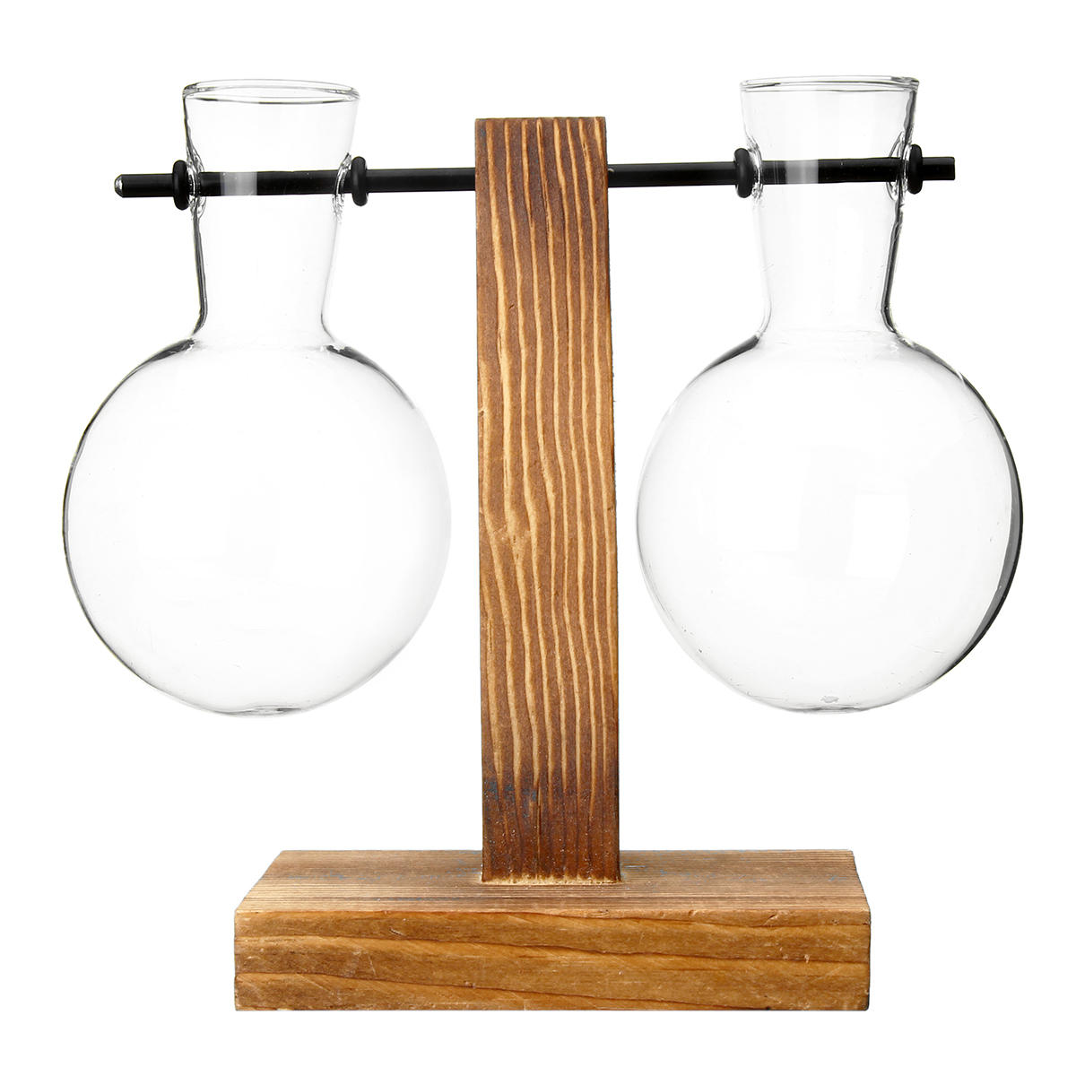 Clear Hanging Plant Terrarium Wooden Stand Glass Vase Holder Home