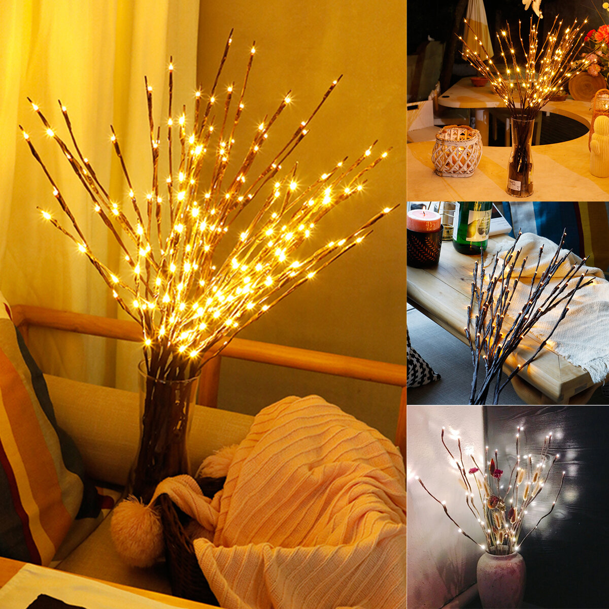 LED Tree Branch Lamp Floral Lights Party Home Decor Holiday Birthday Gift Night Light COD