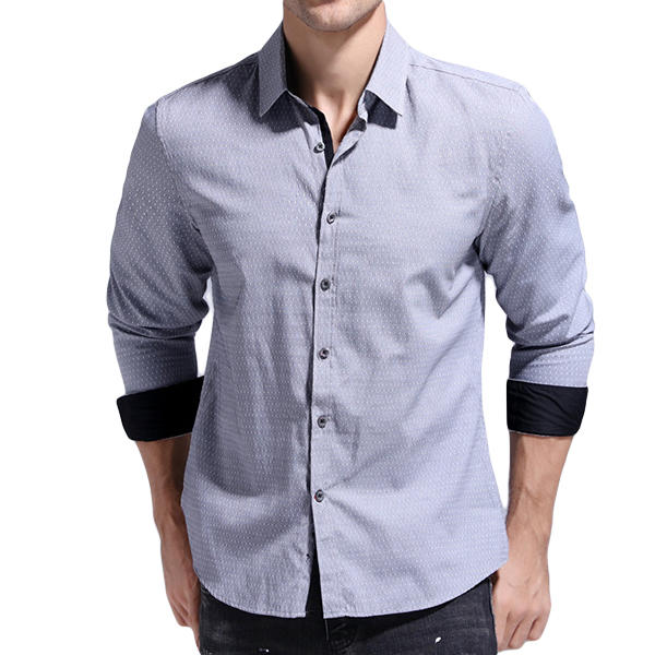d2a07f8054 Mens Dot Printing Cotton Slim Spring Business Long Sleeve Casual Shirts COD
