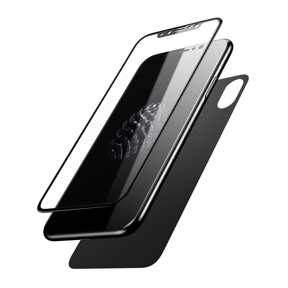 ba<x>seus 0.2mm Film de Protecteur d'Écran et de Dos en Verre Trempé de 3D Bord Courbé pour iPhone X