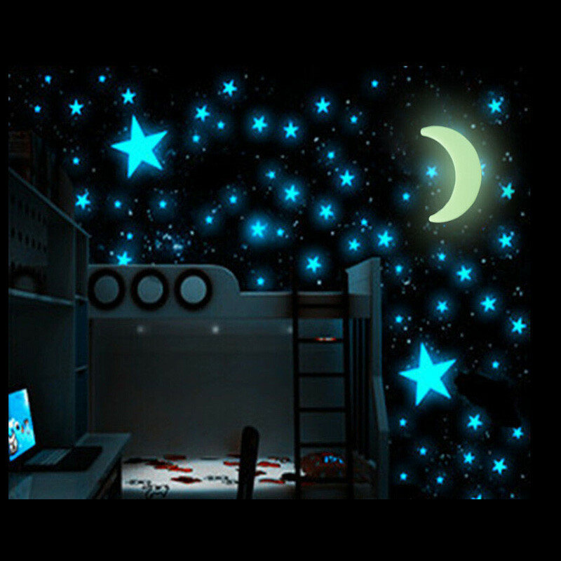 100pcs glow in the dark stars sticker beautiful 3d diy home decal
