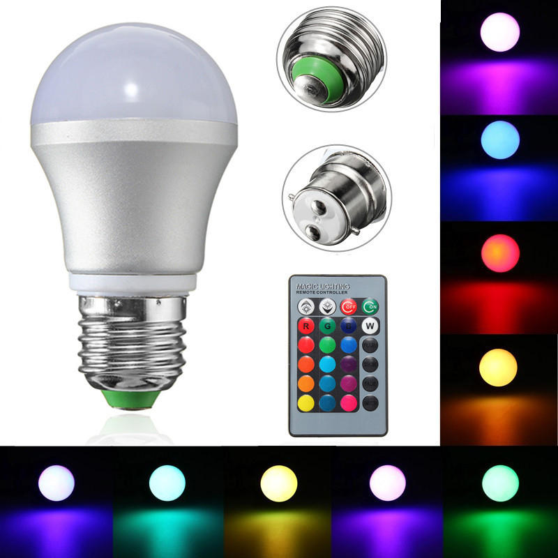 E27b22 3w Dimmable Rgb Led Light Color Changing Bulb Remote