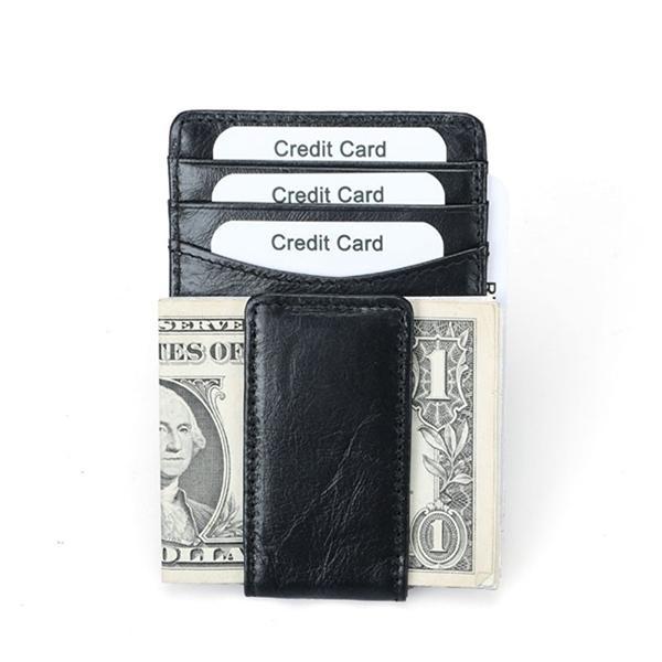 RFID أنتيماجنيتيك جلد طبيعي بطاقة الأعمال حامل المحفظة