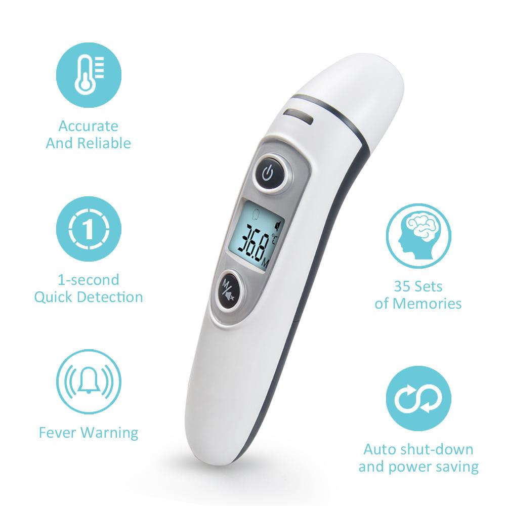 KCASA Nuevo infrarrojo Termómetro Temperatura Sensor IR Digital LCD frontal y Oreja sin contacto para adultos Cuidado del cuerpo del bebé Termómetro Medición de la fiebre