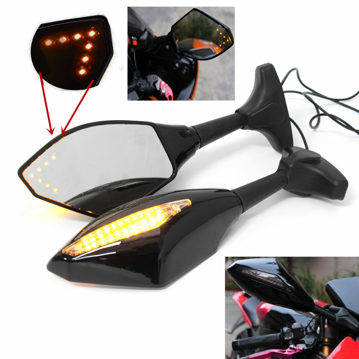 Pair Motorcycle LED Arrow Turn Signal Rear View Mirrors For Honda/Suzuki/Kawasaki/Yamaha