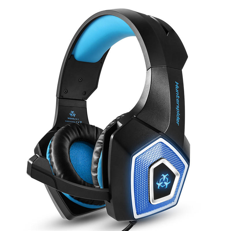 V1 3.5mm RGB Lighting Wired Control Gaming Headphone Stereo Noise Cancelling for PS4 Xbox With Mic