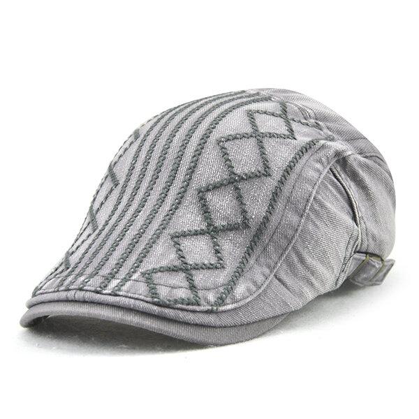 df9ca666f33 Mens Breathable Cotton Washed Beret Hat Stripe Paper Boy Newsboy Cabbie Golf  Cap Adjustable COD