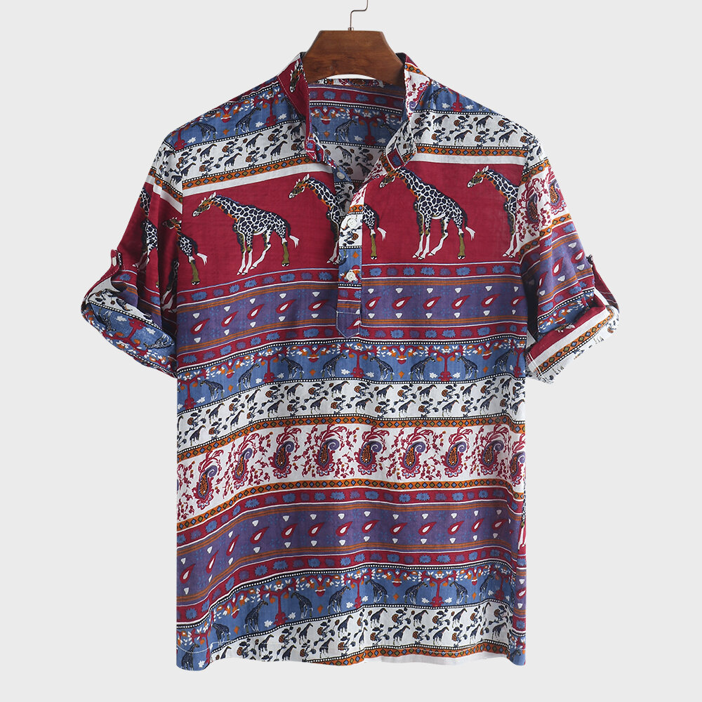 61274a00 Mens Ethnic Style Printed Half Sleeve Loose Casual T Shirts - Red Blue L COD