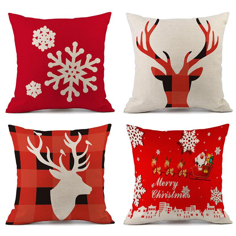 Ev Ren geyiği yastık örtüsü için Yeni Noel Süsleri Kılıf Merry Christmas Square Keten Yastık Kılıfı