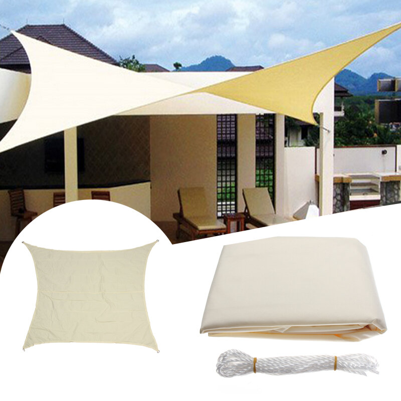 3.5x3.5M Square Sun Shade Sail Canopy Patio Garden Awning UV Block Top Shelter Beige COD  sc 1 st  Banggood & 3.5x3.5m square sun shade sail canopy patio garden awning uv block ...