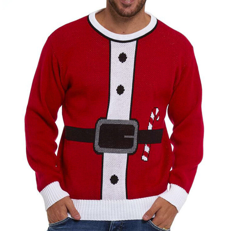 Men's Fashion Chirstmas Cotton Overhead Crew Neck Casual Long Sleeve Sweaters