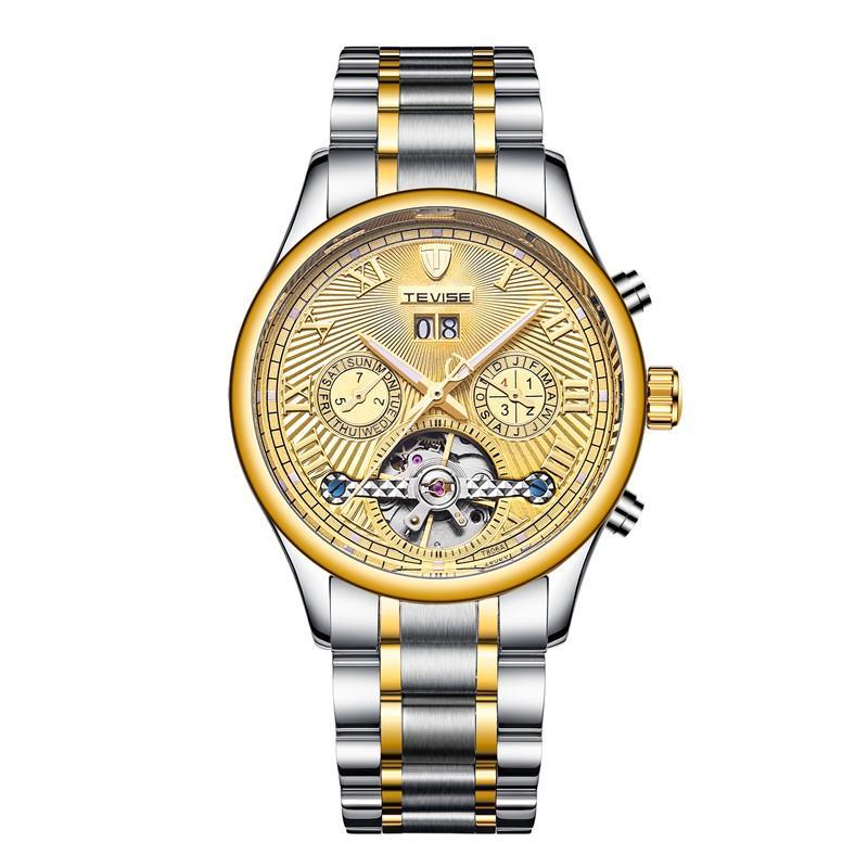 TEVISE 806 militar Viento Hombre Reloj de pulsera automático de acero inoxidable luminoso Mecánico Watche