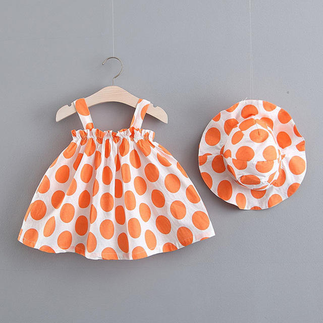 Season New Children's Cool Dot Loose Strap Dress + Hat Suit
