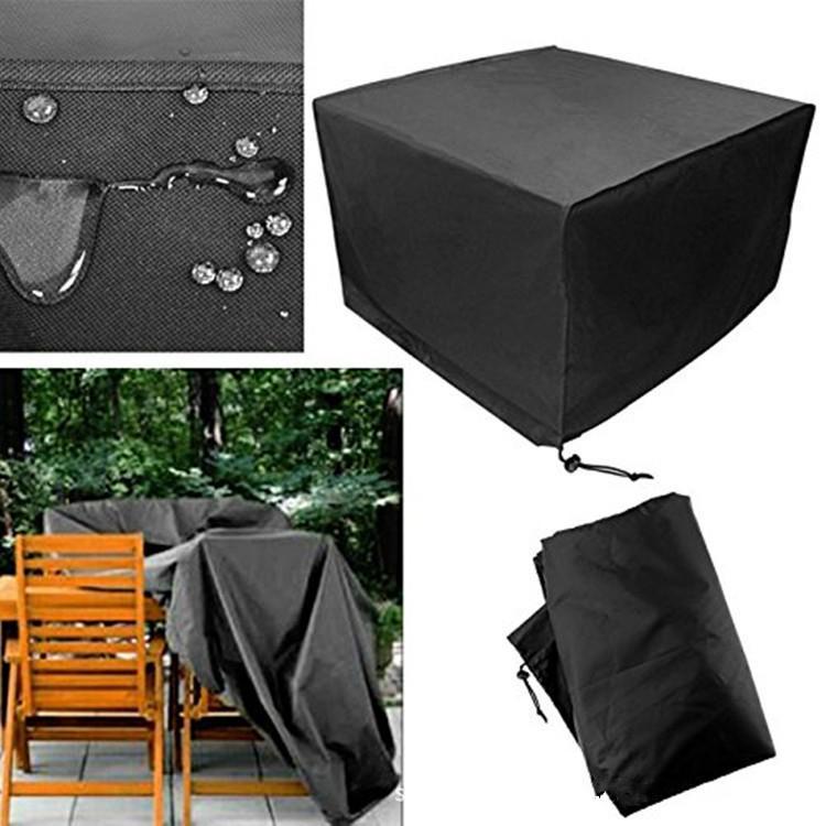 housse de protection de meubles de patio noir rectangulaire extra ...