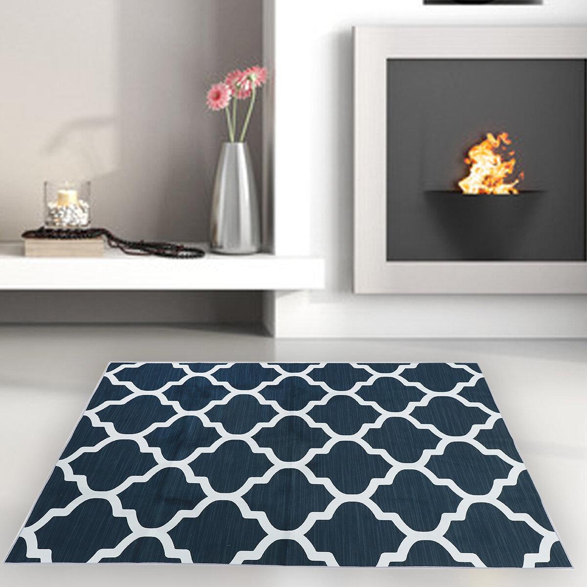 Modern Geometric Trellis Grey Black White Area Rug Contemporary Carpet Soft Mat for Home Living Room Bedroom Decor