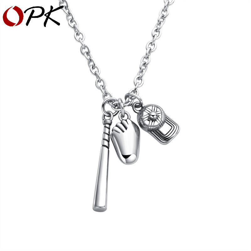 Fashion Pendant Necklace Baseball Hat Bat Glove Sports Stainless Steel Chain Charm Necklace for Men