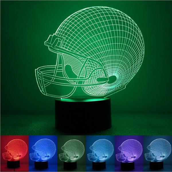 หมวก Rugby สีสัน 3D Touch Control USB LED โต๊ะทำงานโคมไฟตั้งโต๊ะ