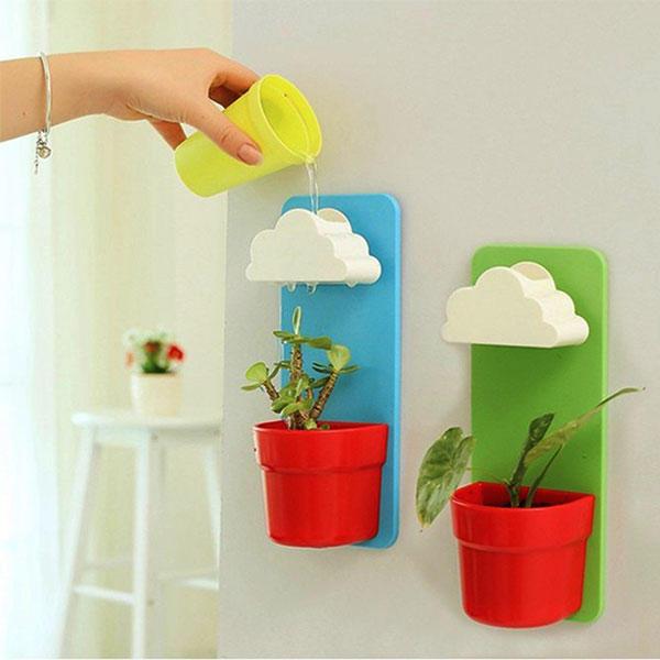 플라스틱 크리 에이 티브 구름 Rainy Pot 벽걸이 플라워 포트 세트