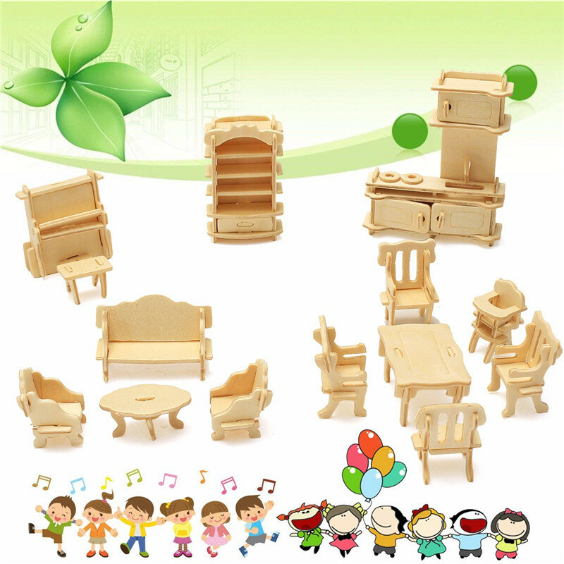 34 Pcs 3d Diy Wooden Miniature Dollhouse Furniture Model Unpainted