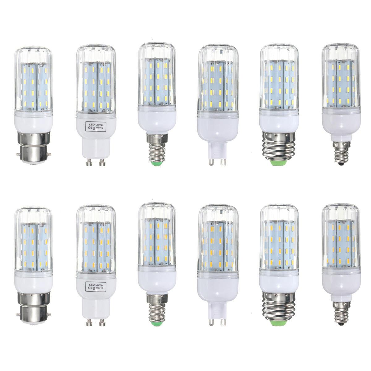 E27 B22 E12 E14 G9 GU10 6W 56 SMD 4014 LED Warm White White Cover Corn Bulb AC 110V