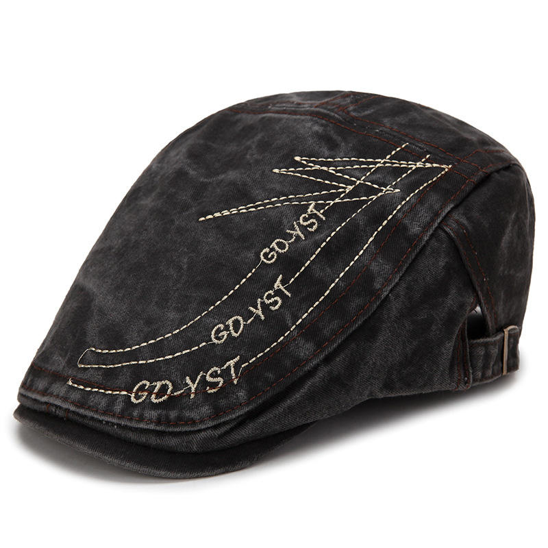 30d9bf68135 Mens Summer Embroidered Breathable Beret Hat Outdoor Solid Visor Newsboy  Cabbie Flat Caps COD