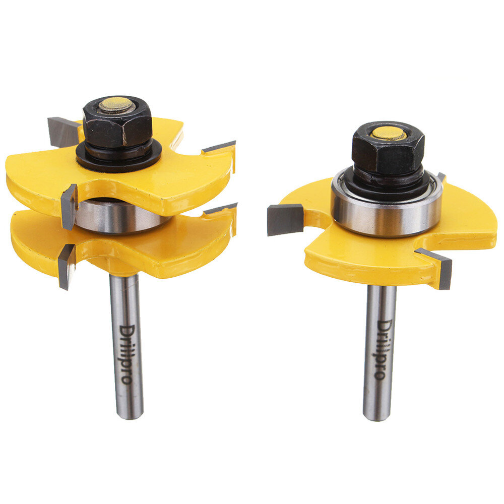Drillpro RB22 2Pcs Tongue & Groove Router Bit Set 1/4 Inch Shank 3 Teeth T-shape Wood Milling Cutter