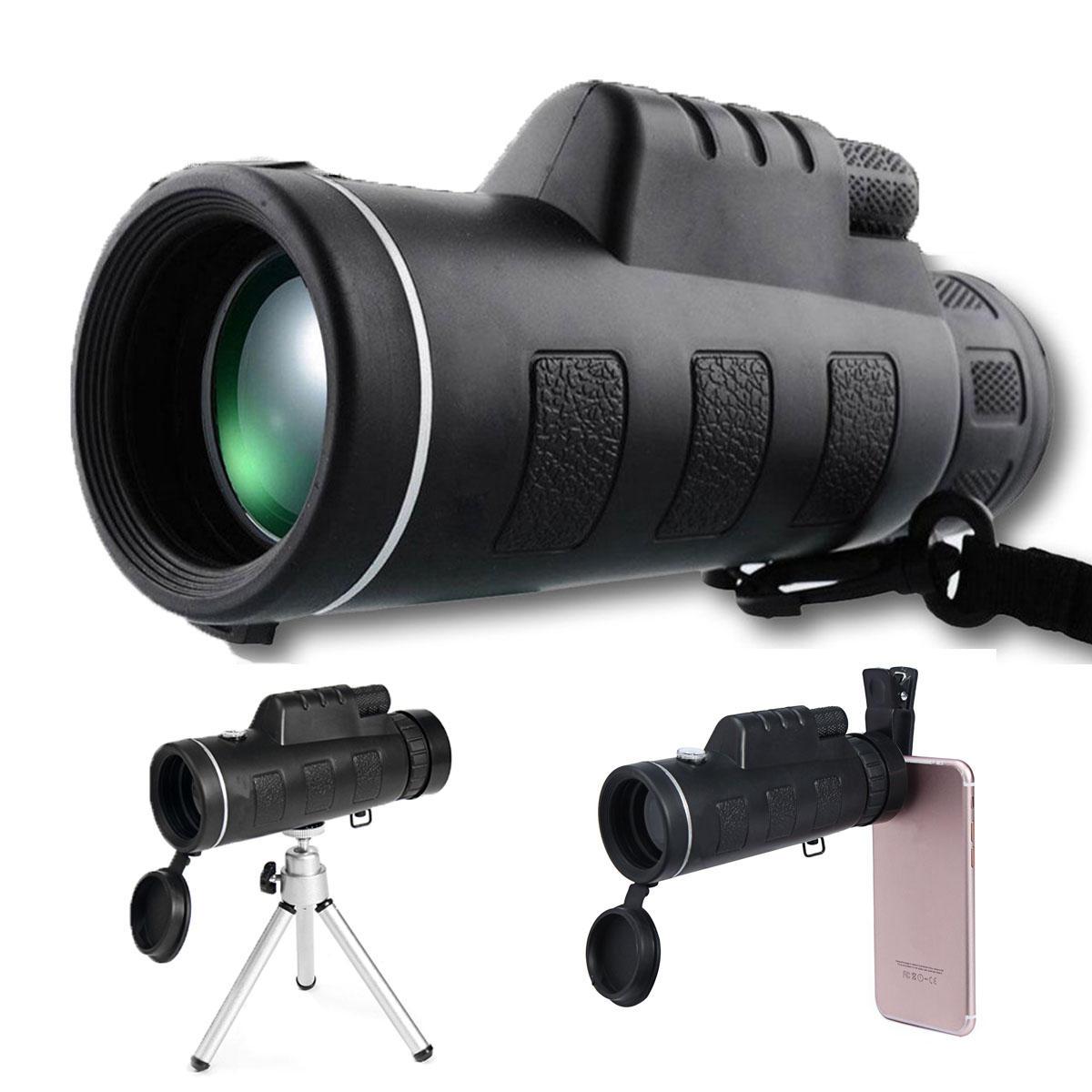 40X60 줌 광학 렌즈 단안 망원경 + 클립 + 삼각대 휴대 전화