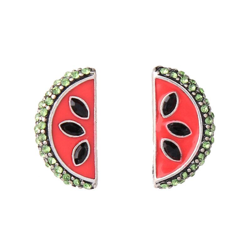 Mignon boucles d'oreilles mode strass émail pastèque piercing boucle d'oreille pour les femmes