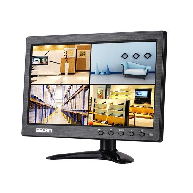 ESCAM T10 10 inch TFT LCD 1024x600 Monitor with VGA HDMI AV BNC USB for PC CCTV Security Camera