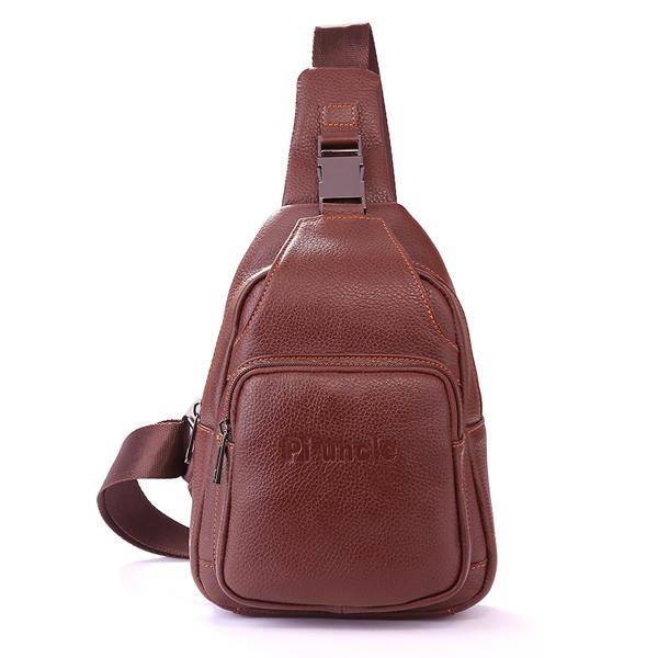 Retro Men Casual Outdoor Sport Genuine Leather Chest Bag Crossbody Bag