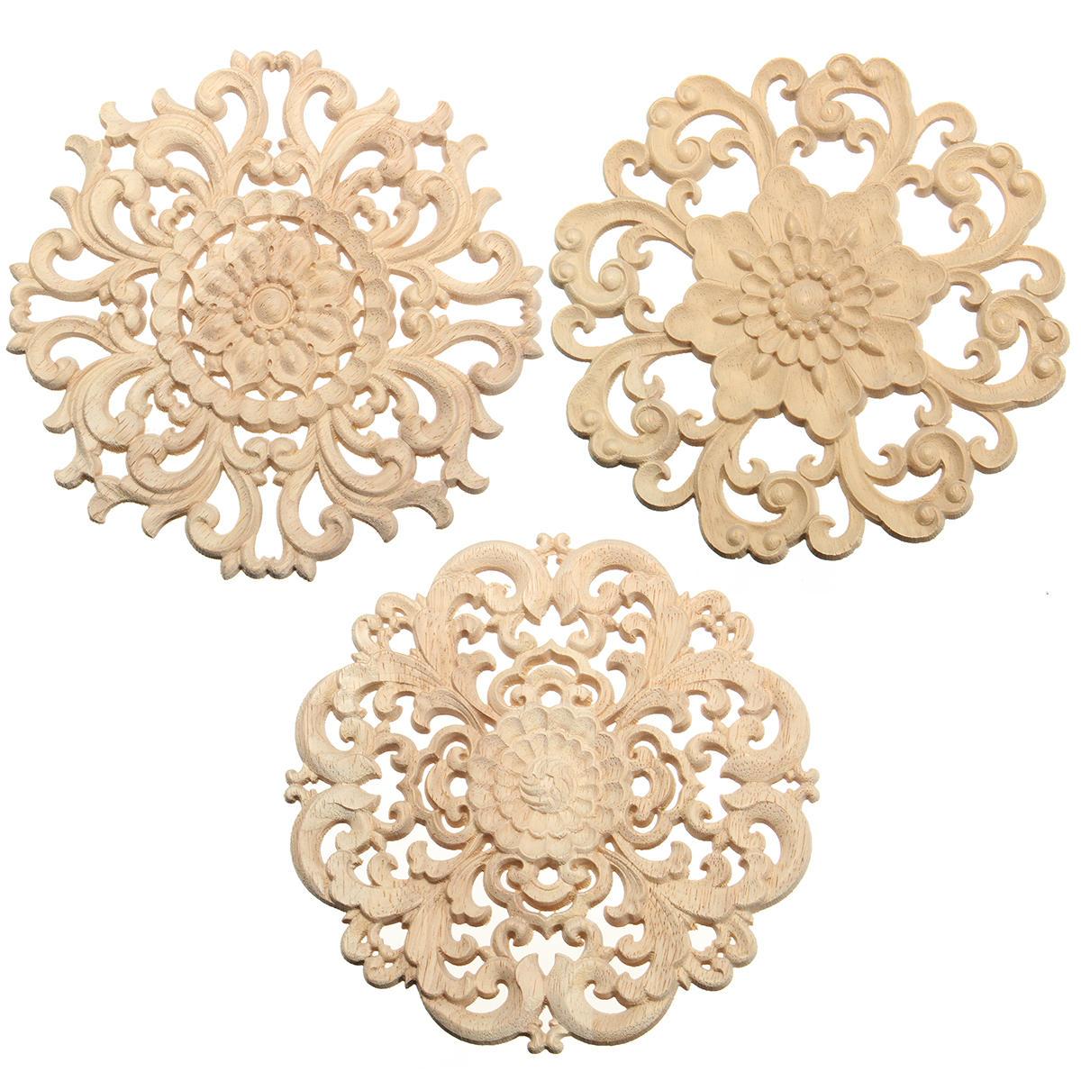 apliques tallados en madera sin pintar flor patrón muebles marco ...