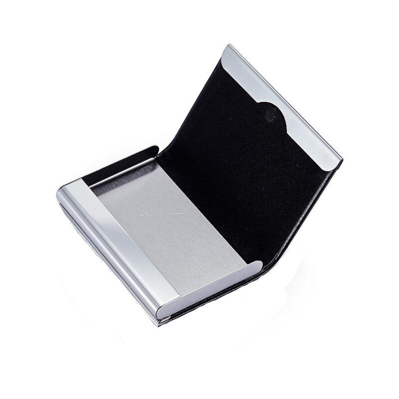 Hand Push Business Card Holder Case Bank Membership Card Package Metal Ultra Thin Aluminium Packaging Box Organizer Korea Style Office & School Supplies