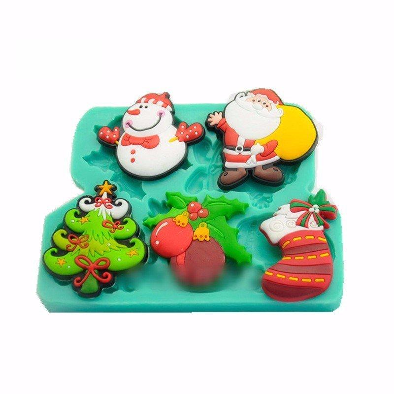 크리스마스 산타 눈사람은 실리콘 초콜렛 곰팡이 캔디 쿠키 퐁당 케이크를 장식한다
